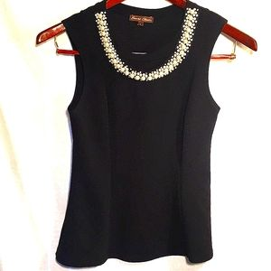 Pearl & Crystal Collar Fitted Sleeveless Knit Tank
